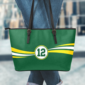 Green Bay 12 Small Leather Tote Bag