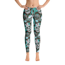 Sugar Skull Leggings BlackTeal