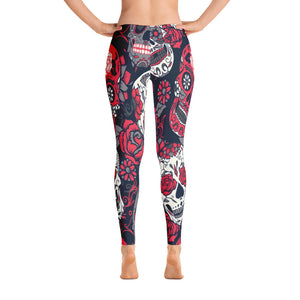 Sugar Skull Leggings BlackRed