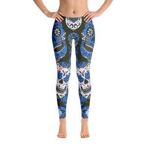 Sugar Skull Leggings BlueBlack