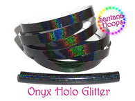 Black Onyx Holographic Glitter Taped performance Hula Hoop