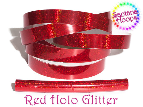 Cherry Red Holographic Glitter Taped performance Hula Hoop