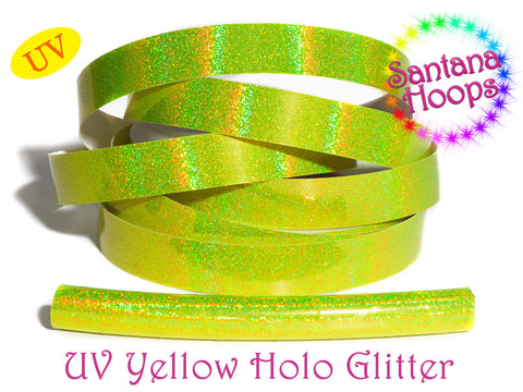 UV Yellow Holographic Glitter Taped performance Hula Hoop