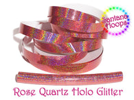 Rose Quartz Holographic Glitter Taped performance Hula Hoop