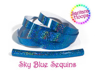 Sky Blue Sequins Fully Taped Performance Hula Hoop