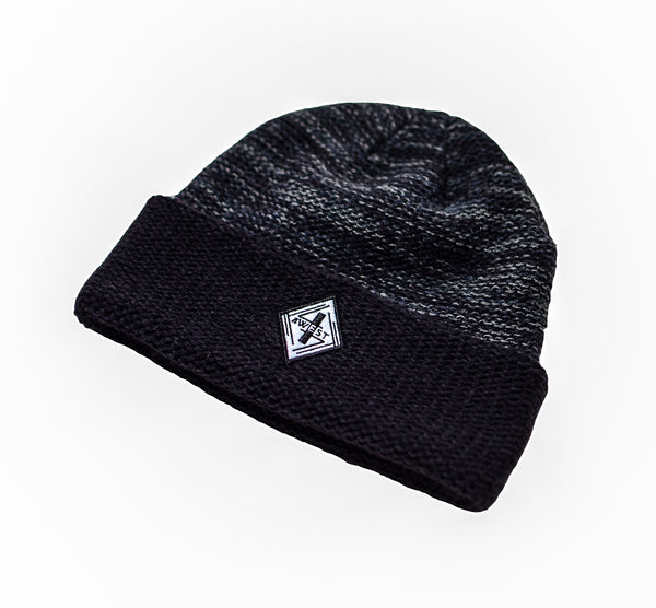 Navy & Grey Cross Knit Toque