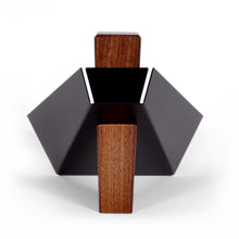Black Walnut and Powder Coated Metal Pedestal Bowl, Fruitdish Dracula