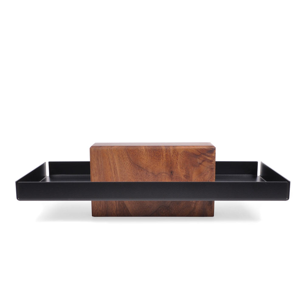 Black Walnut and Powder Coated Steel Pedestal Bowl, Catchall