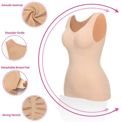 Now You Get 5 Zones of Comfort & Compression in 3-in-1 Garment Slimming Cami Shaper Revolutionary Shapewear