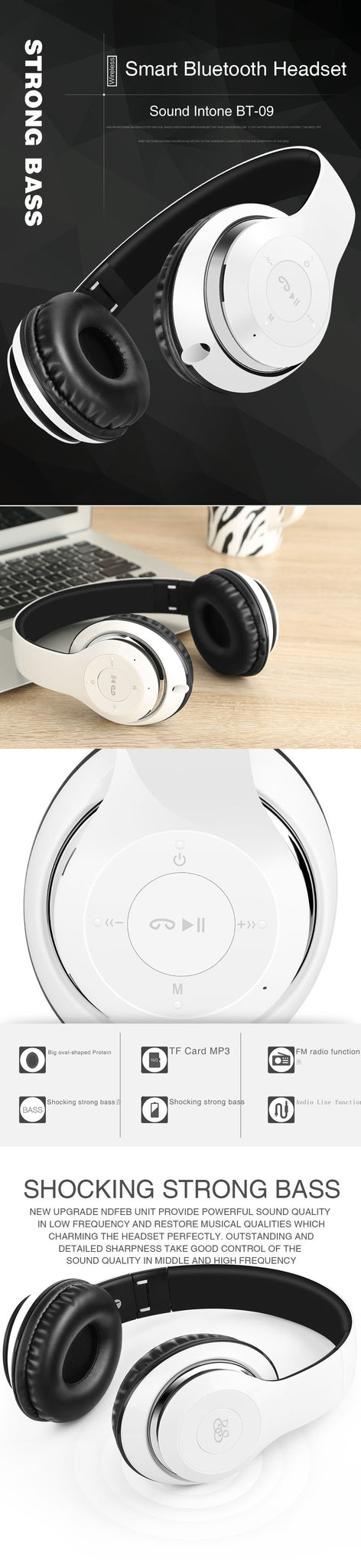 Smart Bluetooth Headphone BT-09 Sound Intone - SmartStuff.com.br