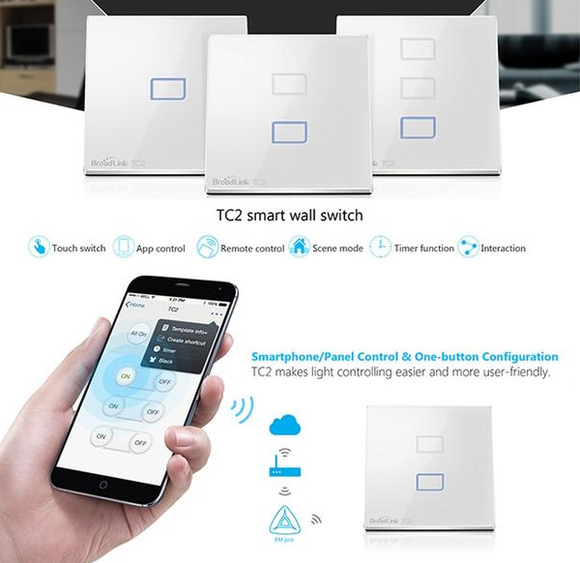 Smart Interruptores Wifi Touch Screen Broadlink - SmartTudo.com.br