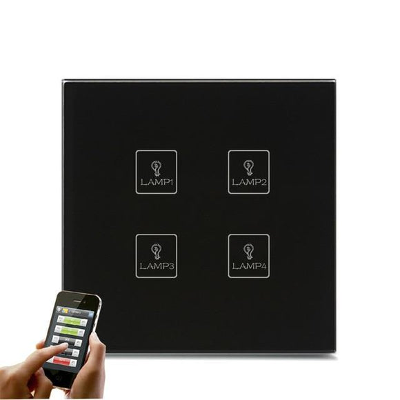 Smart Interruptor Wifi Touch Screen Wallpad 4 Teclas - SmartTudo.com.br