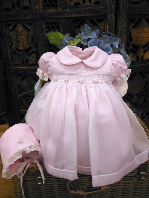 0006060 Will Beth Heirloom newborn/preemie Baby Dress and bonnet with delicate sheer overlay - Silicone Velvet Matting Powder
