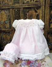 Will Beth Smocked Bishop Dress with Sheer overlay and bonnet - preemie and newborn - Silicone Velvet Matting Powder