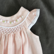 16613N Will'Beth Pink linen smocked dress with piping and seed pearl detail - newborn - Silicone Velvet Matting Powder