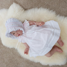 0016431 Will Beth Premium Smocked Angel Wing Dress with Ribbon Detail NB (no bonnet) - Silicone Velvet Matting Powder