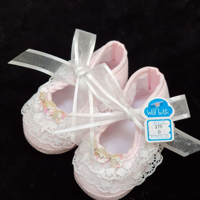 175 Will Beth Occasion pram shoes NB pink with  lace