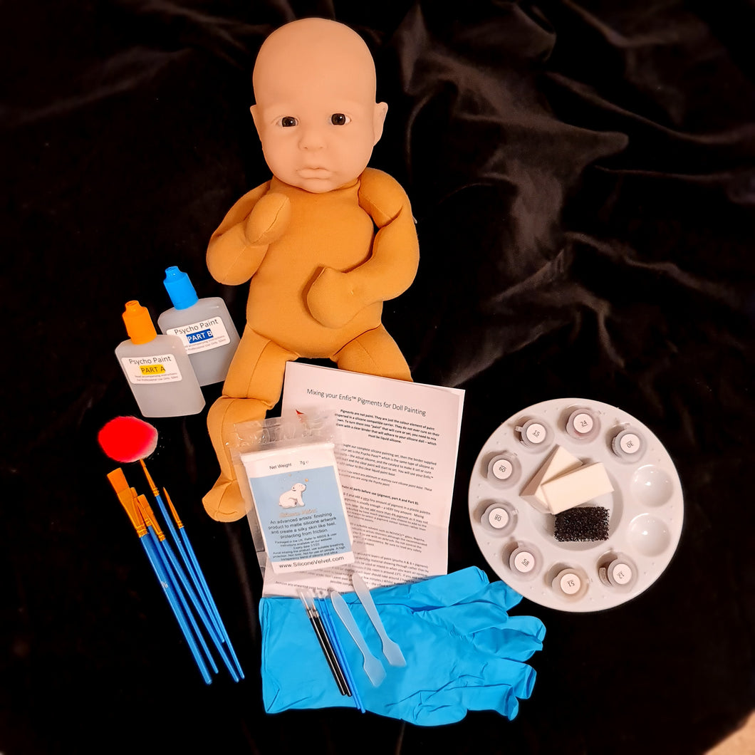 Pack 4: Silicone cuddle baby class with pigments, paints and tools (no head, no body)