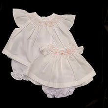 5066 Angel Wing Smocked Dress for Dolls (9 to 16 inch) . White with pink smocking