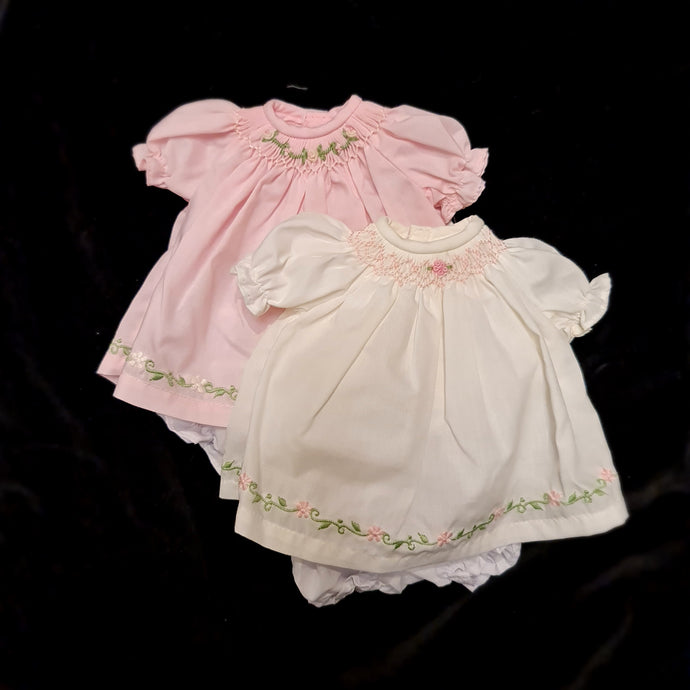 5288/90  Smocked Bishop Dress for 9 to 13inch Dolls. Embroidered hem