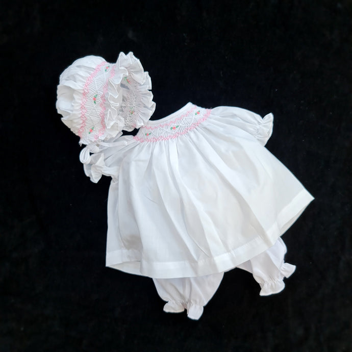042 WHITE  Cable Rose Smocked Bishop Dress for Dolls. with bonnet and bloomers.