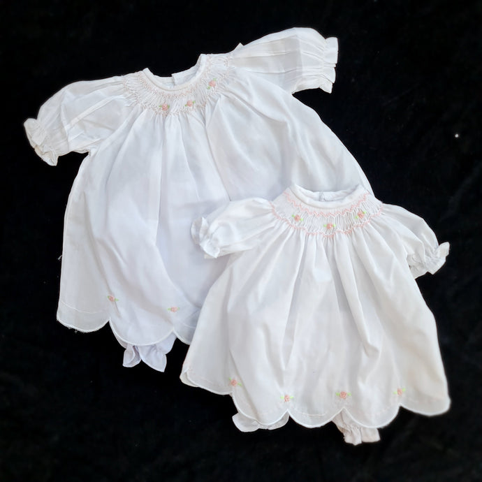 3427 WHITE Cable Rose Smocked Bishop Dress for Dolls 14 to 19inch .  with scalloped and embroidered hem.