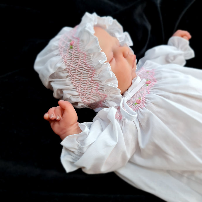 1066 Smocked Traditional Supot gown for 16 to 19 Dolls. White with smocked bonnet.