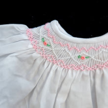 042 WHITE  Cable Rose Smocked Bishop Dress for Dolls. with bonnet and bloomers. 10 to 19 inch