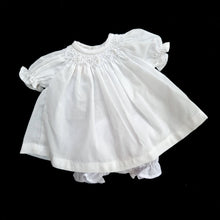 1229 WHITE  Smocked Bishop Dress for Dolls 9 to 12inch only. with  bloomers.
