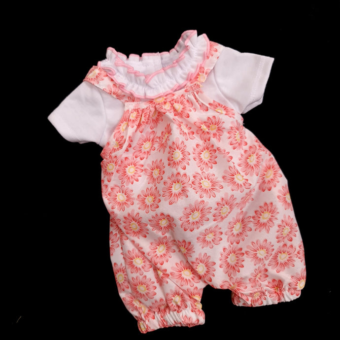 464 Jumpsuit with pink flower print (2 doll sizes for 15 to 21 inches / 42 to 53cm)