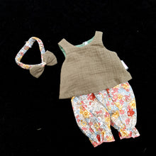 472 moss green 3 piece set with ditsy print long bloomers ( 4 doll sizes for 11 to 18 inches / 29 to 46cm)