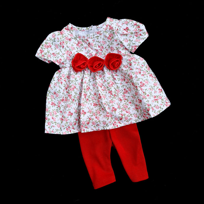 470 Ditsy Print Doll ROSE dress with leggings (2 doll sizes for 15 to 21 inches / 42 to 53cm)
