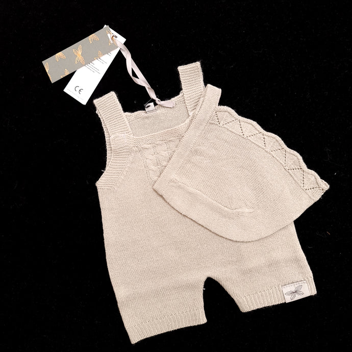 Very Fine Knit Grey Romper with Hat ( 3 doll sizes for 13 to 20 inches / 30 to 50cm)
