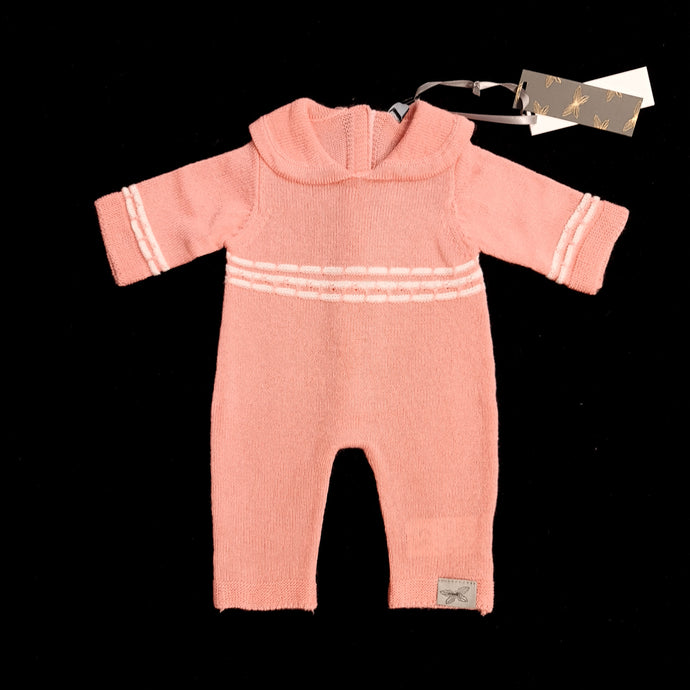 Fine Knit Romper - Rose ( 3 doll sizes for 13 to 20 inches / 35 to 50cm)