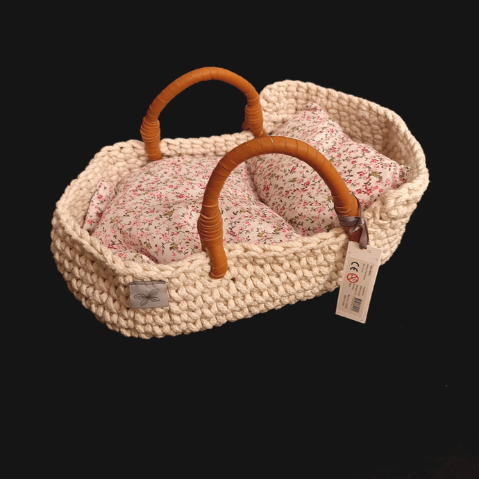 Hand made soft bed / carrier in two sizes for dolls size 6inch to 13inch(with bedding)