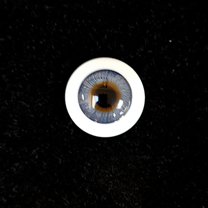 German Saturn flat back glass eyes for dolls  - large iris & dark limbus ring (blue only)