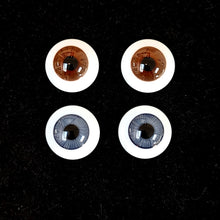 German Neptune flat back glass eyes for dolls  - large iris (2 colours)