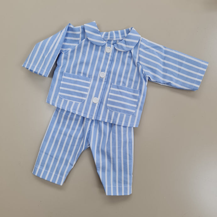 dolls blue stripe pyjamas ( 2 doll sizes for 14 to 18 inches / 36 to 46cm)