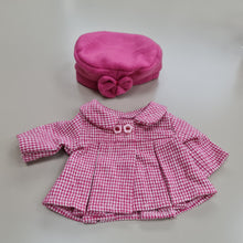 432 dolls classic style coat and hat in pink ( 1 doll sizes for 12 1/2 to 14 1/2 inches / 32 to 37)