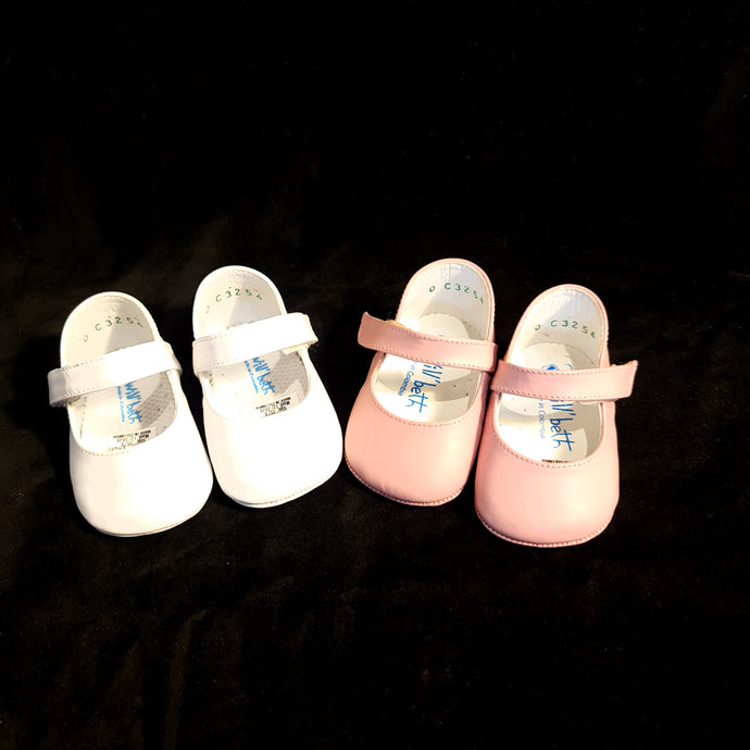 254 Will Beth soft leather pram shoes - velcro mary janes