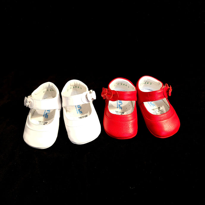 463 Will Beth soft leather pram shoes - velcro mary janes with bow