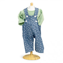 432 Dungarees Stars / overall with long sleeve T shirt ( 3 doll sizes for 12 to 18 inches / 31 to 46cm)
