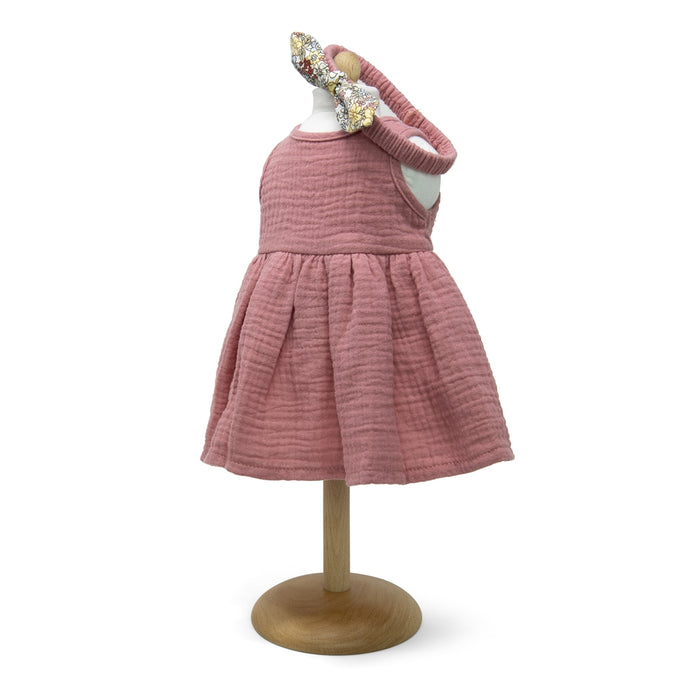 473 Old rose soft muslin dress for dolls with headband ( 4 doll sizes for 11 to 18 inches / 29 to 46cm)