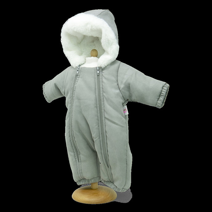 Unisex Dolls Snowsuit in Grey with fur lined hood ( 3 doll sizes for 12 to 17 inches / 33 to 46cm)