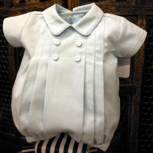 e2b76a4ff64a Will Beth Traditional boys button and pleat romper/bubble with piped edging  - Silicone Velvet
