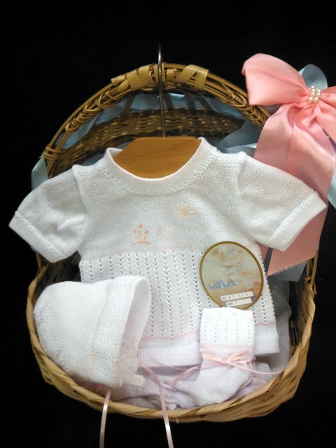 Will Beth Short Sleeve Baby Knit set for Girls - White with subtle pink embroidery - Silicone Velvet Matting Powder