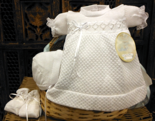 Will beth white knit dress newborn and preemie with bonnet and knit shoes - Silicone Velvet Matting Powder