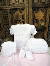 "875504 5 Piece Openwork ""Vintage"" style Knit set with nappy cover pink - Silicone Velvet Matting Powder"