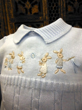 874355 Will Beth Knitted Rabbit Storybook Romper Blue (brother & sister range) - Silicone Velvet Matting Powder