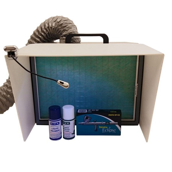 Table top ducted artists' extractor (A3 size) to extract solvents, dust and airbrush spray